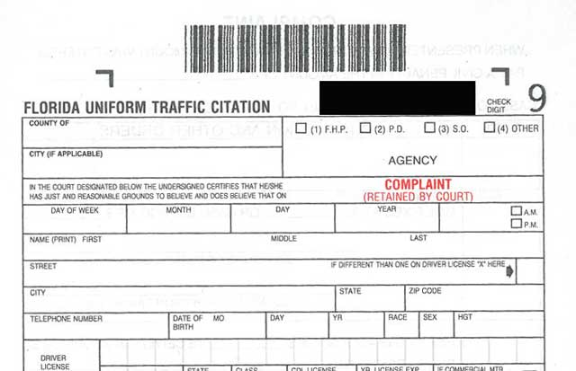 Florida Uniform Traffic Citation
