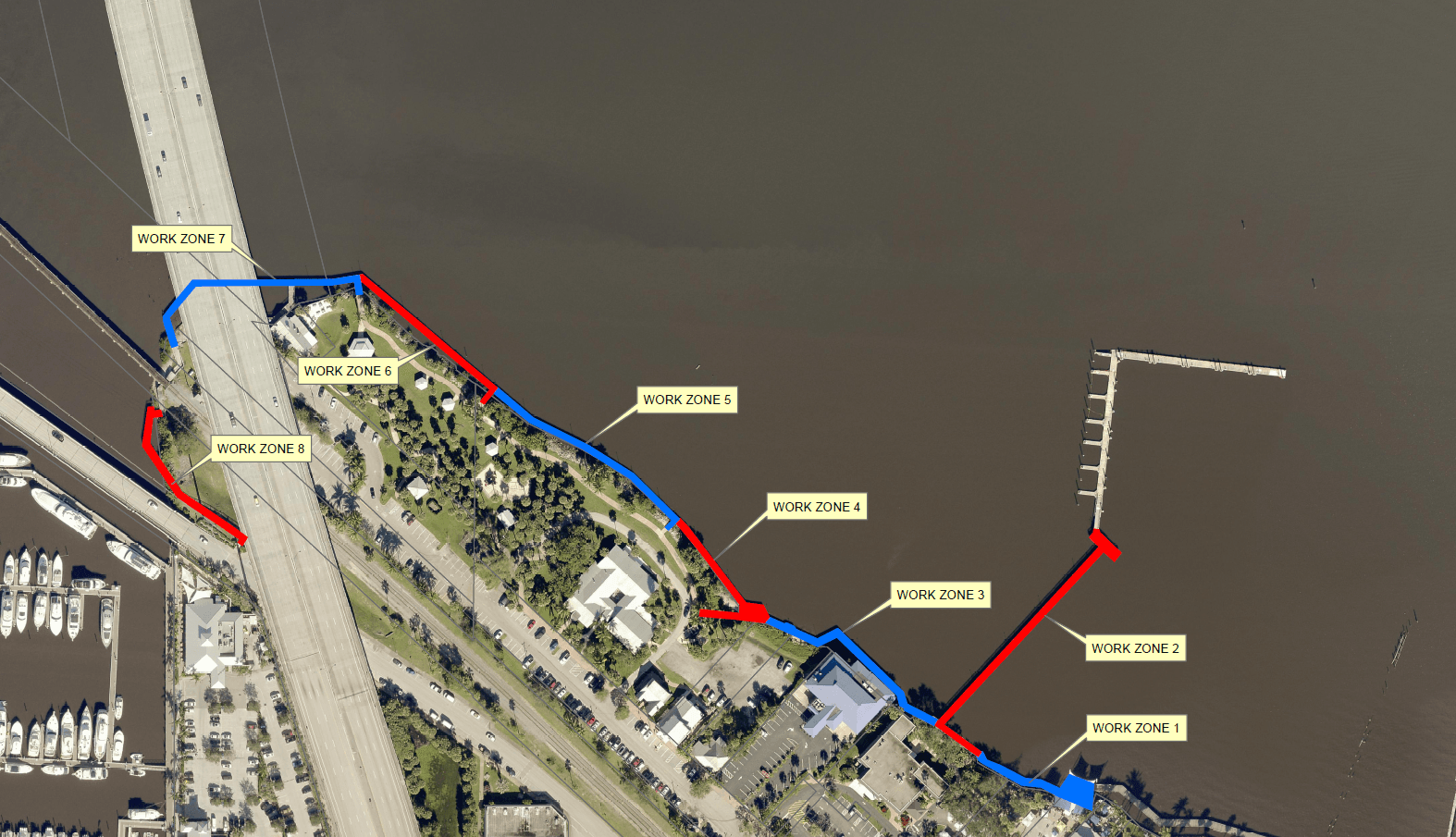 Work Zones for 2019 Riverwalk Replacement Project