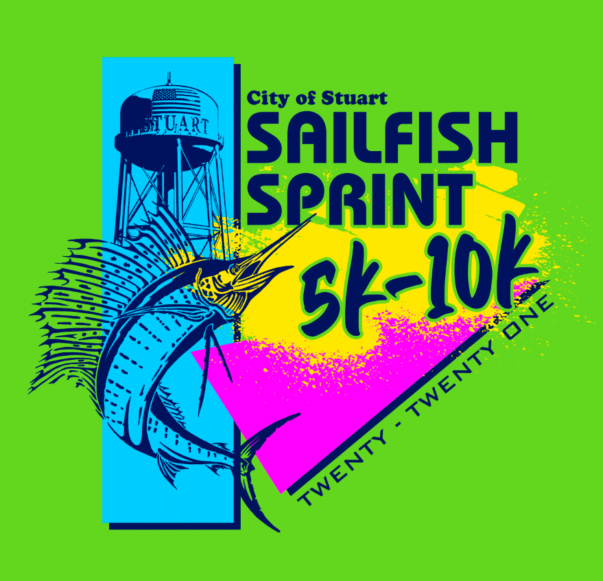 sailfish and water tower in bright colors