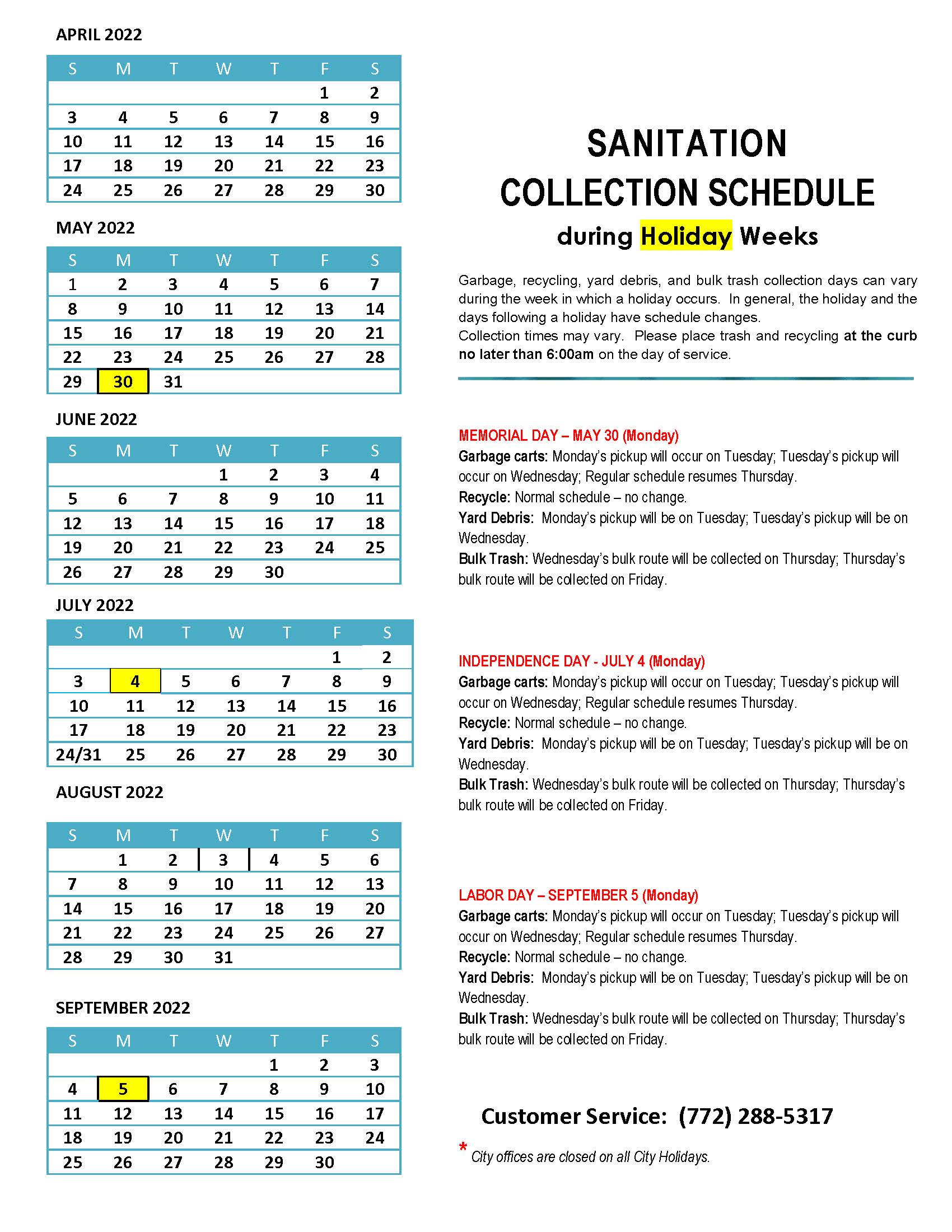 2020-2021 Sanitation Collection Schedule during Holiday Weeks_Page_1 Oct.-March
