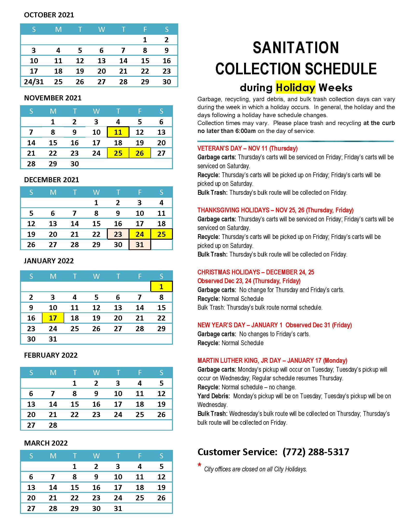 2020-2021 Sanitation Collection Schedule during Holiday Weeks_Page_2 April-Sept.