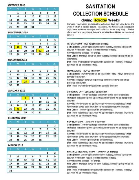 2018 Holiday Weeks - Sanitation Collection Schedule (PDF) Opens in new window